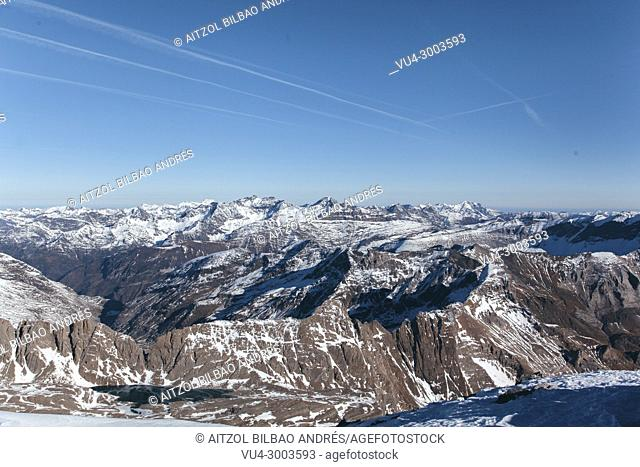 French Pyrenees from the summit of Monte Perdido in Ordesa and Monte Perdido natural park, Spain. It is a perfect place for hiking and alpinism in winter