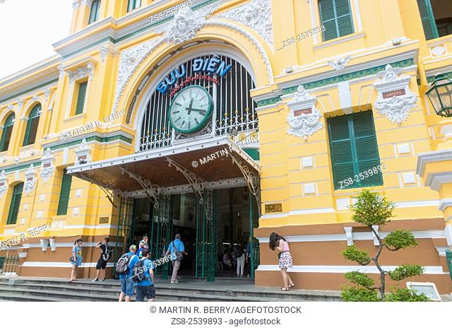 General Post Office Building from the French Indochina Era, now a popular tourist attraction in Saigon, Vietnam
