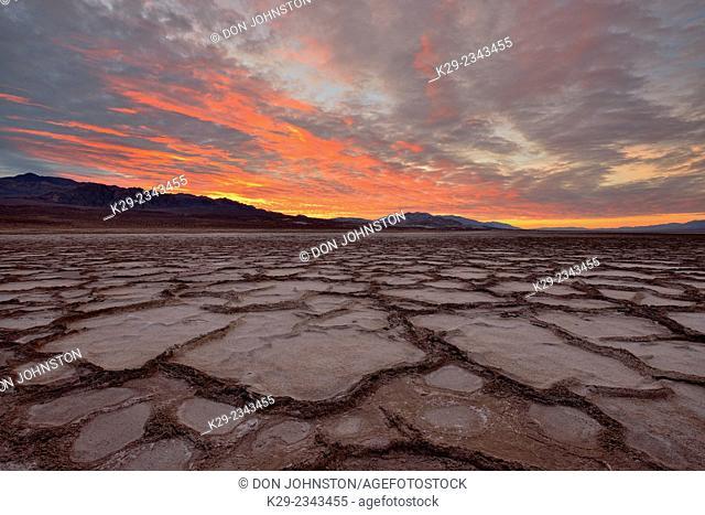 Cottonball Basin polygons at sunrise, Death Valley National Park, California, USA