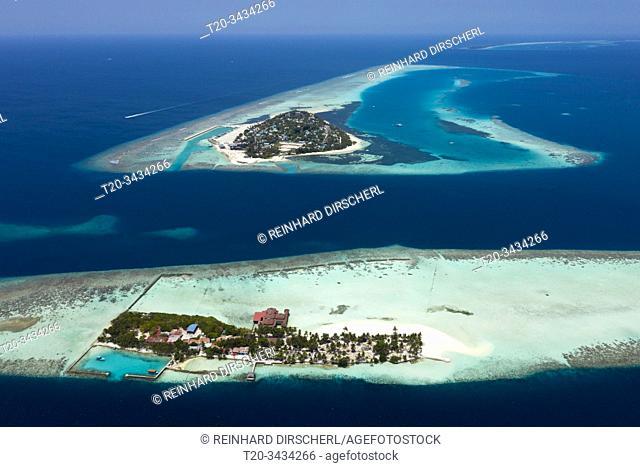 Vacation Island Ranveli and Inhabited Island Dhangethi, Ari Atoll, Indian Ocean, Maldives