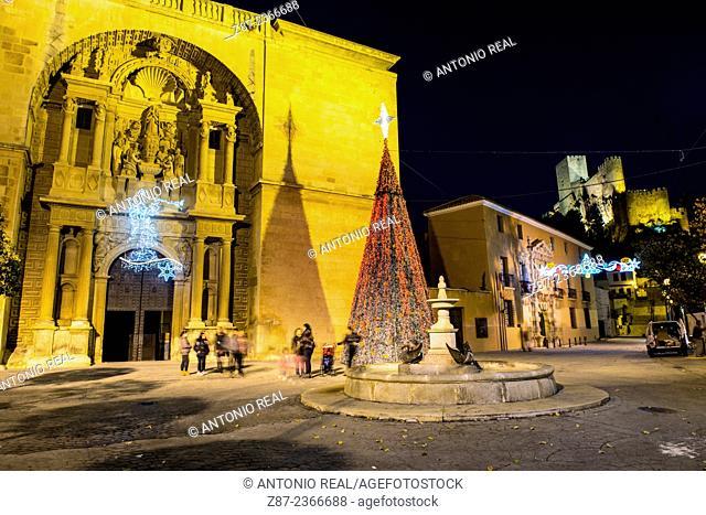 Iglesia de la Asunción church in Christmas, Almansa, Albacete province, Castilla-La Mancha, Spain