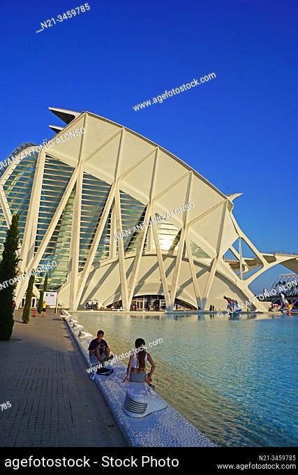Santiago Calatrava's Museo de las Ciencias Principe Felipe. Ciudad de las Artes y las Ciencias, an architectural, cultural and entertainment complex designed by...