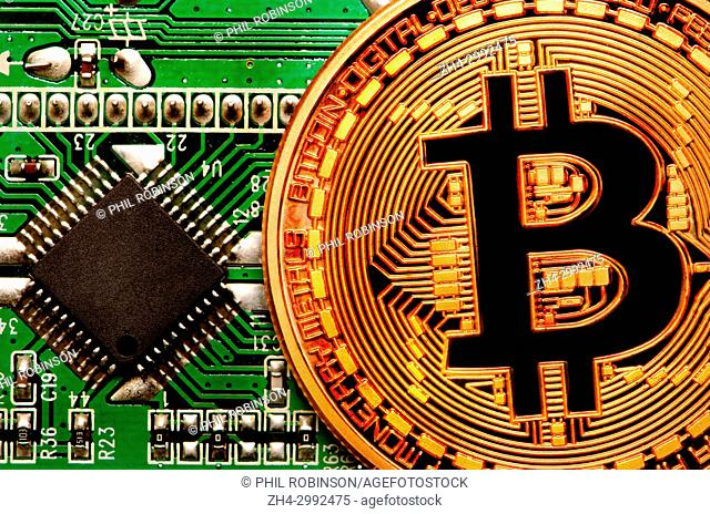 Bitcoin cryptocurrency / payment system (Copper Bitcoin Commemorative Round . 999 bullion) Electronic currency. Circuit board with chip
