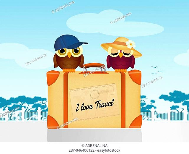 illustration of i love travel