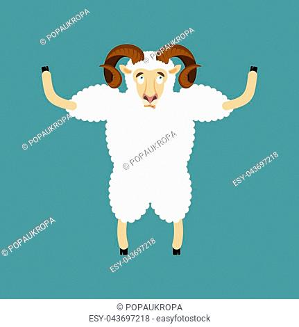 6358202bb Ram confused emotions. Sheep is perplexed. Farm animal surprise. Vector  illustration