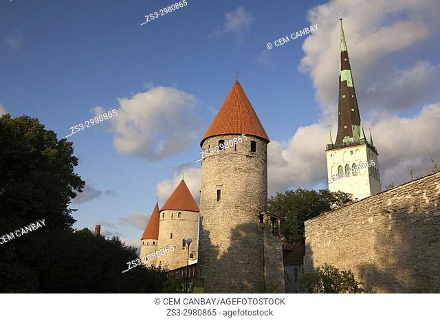 Medieval towers called Nunna, Sauna and Kuldjala and walls, symbols of the city's history in the old town, Tallinn, Estonia, Baltic States, Europe