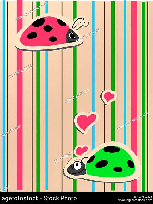 ladybirds in love illustration whit bright background. You can find a vector version in my portfolio