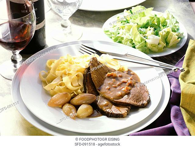 Braised Beef with Endive Salad & Pasta