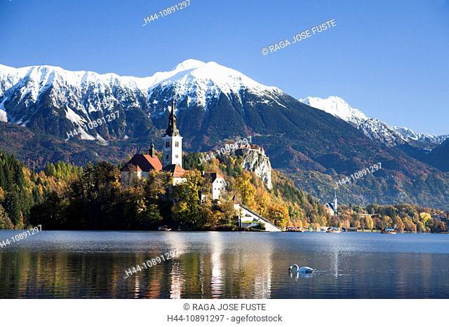 Slovenia, Europe, Bled, lake, autumn, church, mountains