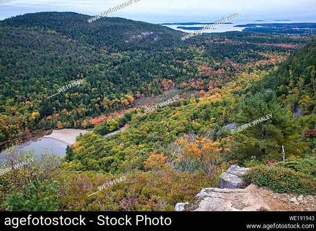 Weathered Granite and Scenic View from Beech Mountain Trail in Acadia National Park on Mount Desert Island, Maine