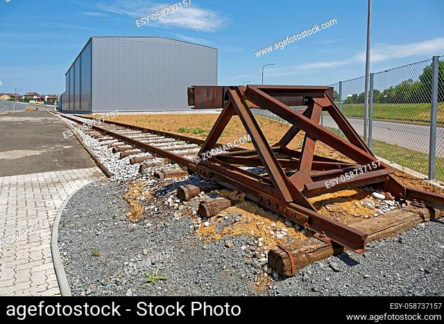 Distribution Warehouse Building With Rail Road Tracks