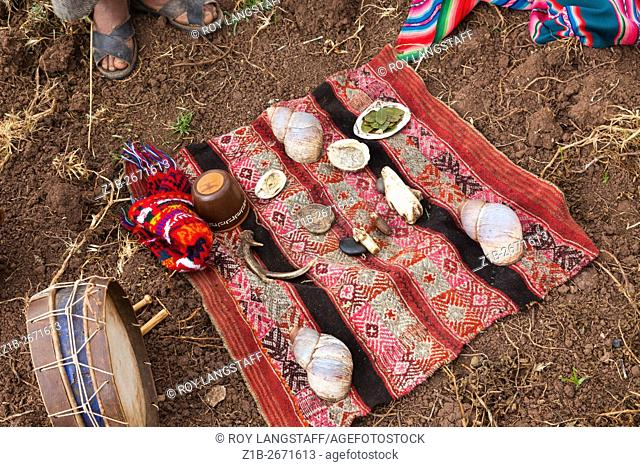 Ceremonial blanket for the ritual to thank Pachamama for a good harvest