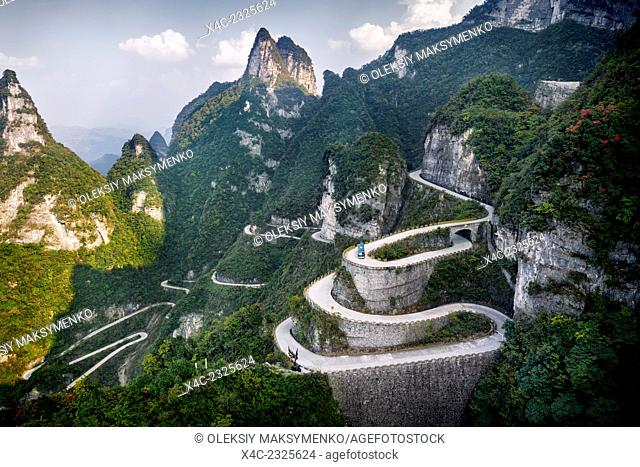Serpentine road at Tianmen Mountain National Park, Zhangjiajie, Hunan, China 2014