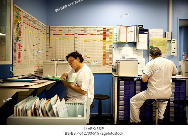 Photo essay at La Croix Saint-Simon Hospital, Paris, France. Night shift