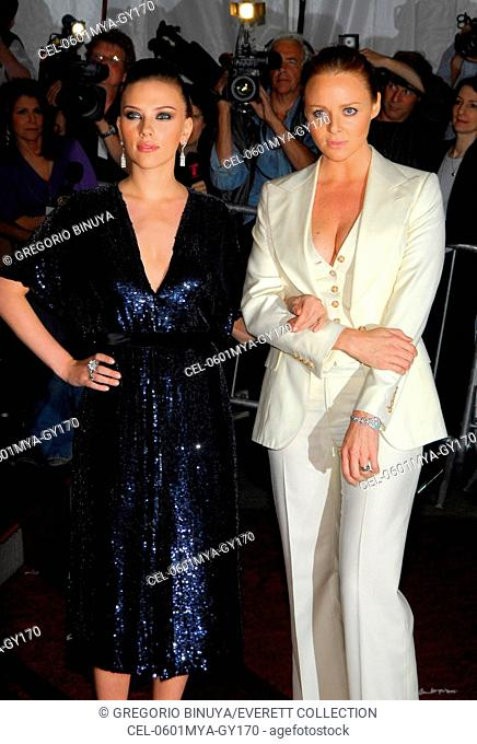 Scarlett Johansson, Stella McCartney (both wearing Stella McCartney designs) at arrivals for AngloMania: Tradition and Transgression in British Fashion Opening...