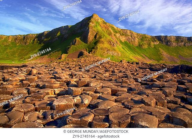 The Giant's Causeway, known for its polygonal columns of layered basalt and the only UNESCO World Heritage Site in Northern Ireland