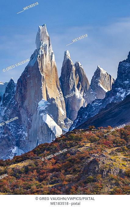 Cerro Torre and fall color in the lenga tree forest in Parque Nacional Los Glaciares, Patagonia, Argentina.