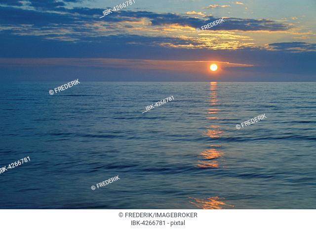 Sunset, Baltic Sea, Western Pomerania Lagoon Area National Park, Mecklenburg-Western Pomerania, Germany