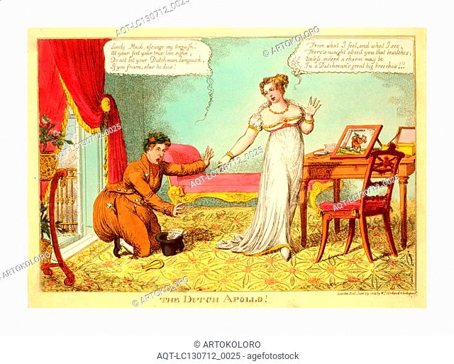 The Dutch Apollo!, London, 1814, the Prince of Orange, dressed like a Dutchman in (English) caricature, kneels with arms extended imploring at the feet of...