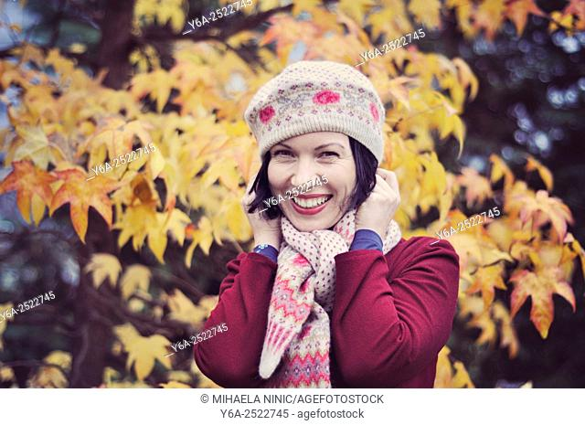 Happy mid adult woman, autumn
