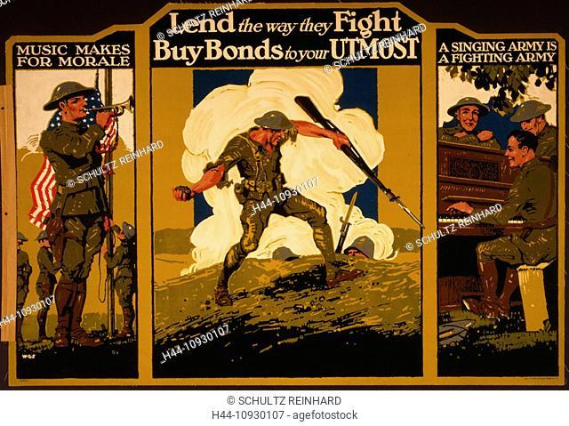 USA, World War I, American, poster, soldier, grenade, bugler, singing, Buy, bonds, army, 1917