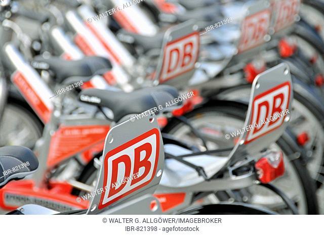 Deutsche Bahn, German National Railway Company, bicycles for hire on Opernplatz Square, Frankfurt, Hesse, Germany, Europe