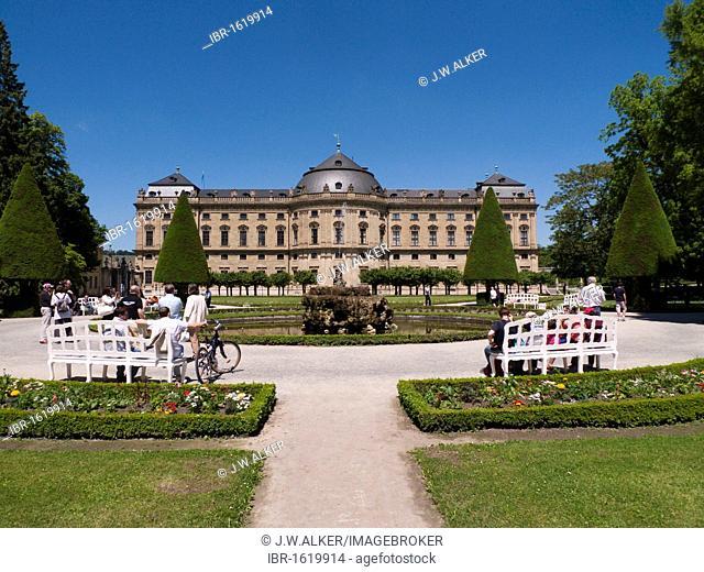 Wuerzburg Residence, Baroque palace, Court Garden, Wuerzburg, Bavaria, Germany, Europe