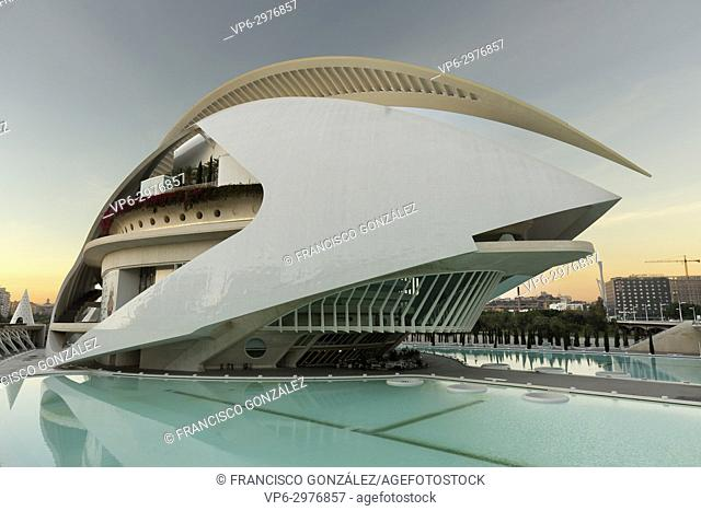 Valencia, Spain. October 25, 2017: The Palau de les Arts Reina Sofia is the opera house of Valencia, and home of the Orchestra of the Valencian Community
