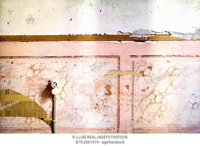 Fresco in a room of an old house, with a plug. Mahon, Maó, Menorca, Biosphere Reserve, Balearic Islands, Spain