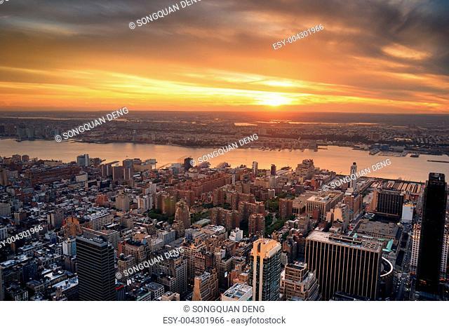 Manhattan Hudson River sunset