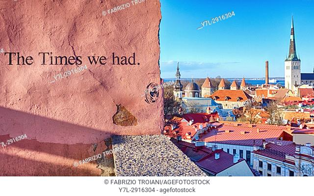 """""""""""The Times we had"""" murales on the wall of the Kohtuotsa viewing platform, Tallinn, Estonia"