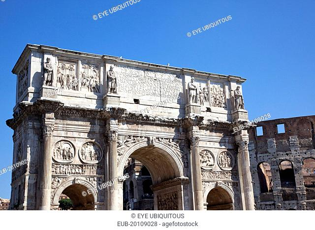 The Arch of Constantine with the Coliseum behind