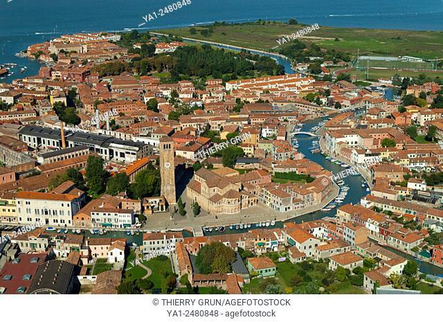 Italy, Venice lagoon, Murano island aerial view