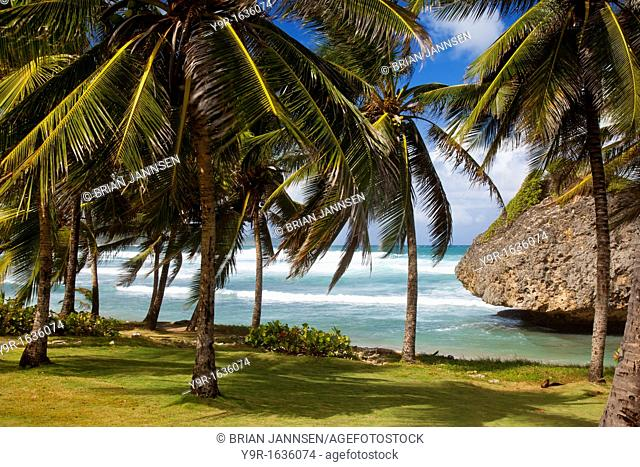 Bathsheba Rock along the eastern coast of Barbados, West Indies