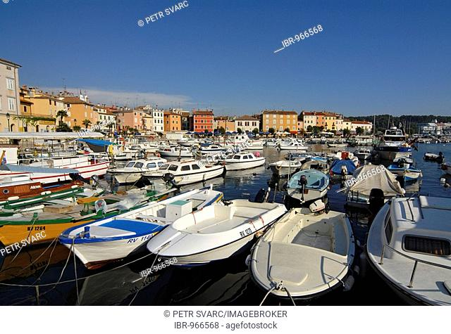 Boats, yachts, marina, in the center of Rovinj, Istria, Croatia, Europe