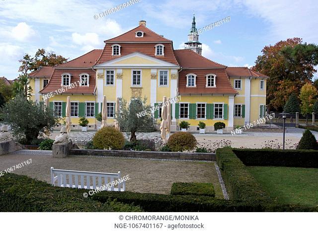 Friederikenschloesschen, Frederica Manor, in the background the Market Church St Bonifacius, Bad Langensalza, district Unstrut Hainich, Thuringia, Germany