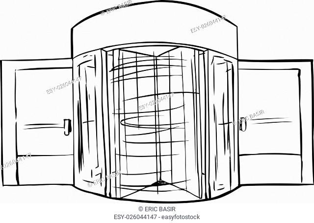 Hand drawn illustration of spinning revolving door outline