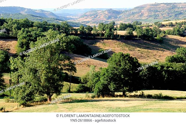 Aveyron, Midi-Pyrenees, paysages et relief typique. Typical lanscapes with hills