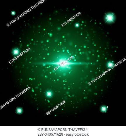 Green space glowing light background, stock vector