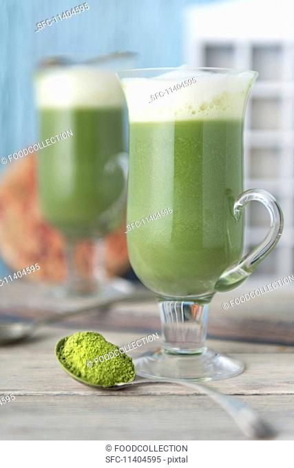 Matcha latte with soy milk
