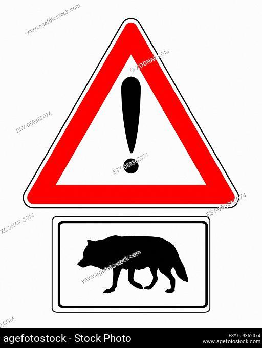 Warnschild mit Zusatzschild Wolf - Attention sign with optional label wolf