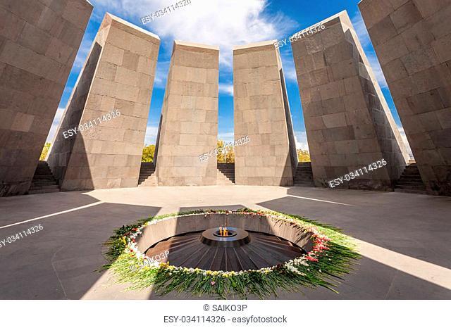 Inside Tsitsernakaberd - The Armenian Genocide memorial complex, it is Armenia official memorial dedicated to the victims of the Armenian Genocide in Yerevan