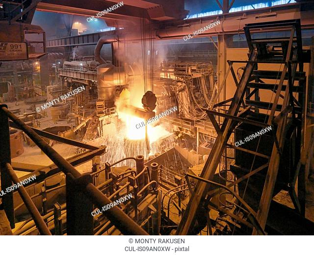 Molten steel being poured in steelworks
