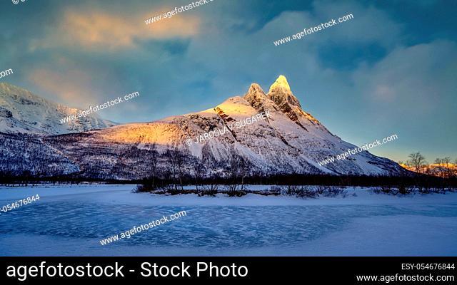 Otertinden mountain with Signaldalelva river in Northern Norway