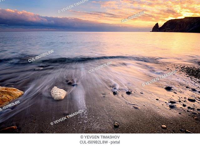 Yashmoviy Beach (Fiolent Beach) at sunset near Sevastopol, Crimea, Ukraine