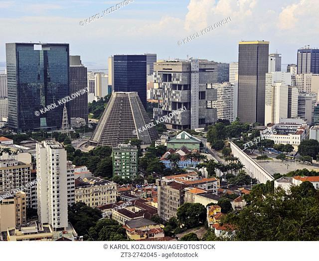 Brazil, City of Rio de Janeiro, City Center Skyline viewed from the Parque das Ruinas in Santa Teresa