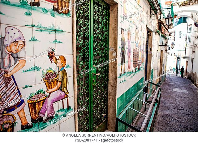 View of a tiny street of Vietri sul mare town famous for its artistic tiles, Amalfi coast, Italy