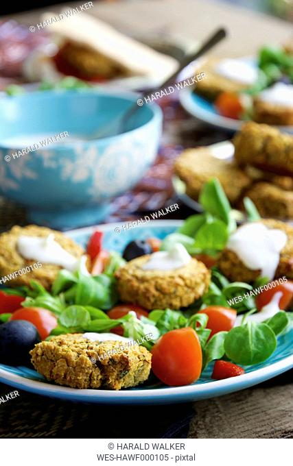 Falafel Salad with home made baked falafel