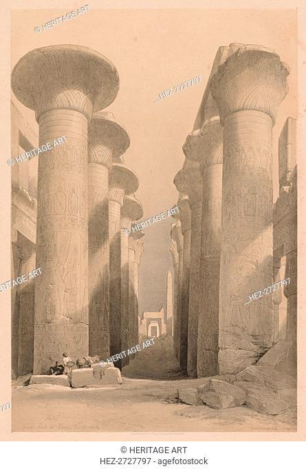 Egypt and Nubia: Volume I - No. 20, Great Hall at Karnak, Thebes, 1838. Creator: Louis Haghe (British, 1806-1885)