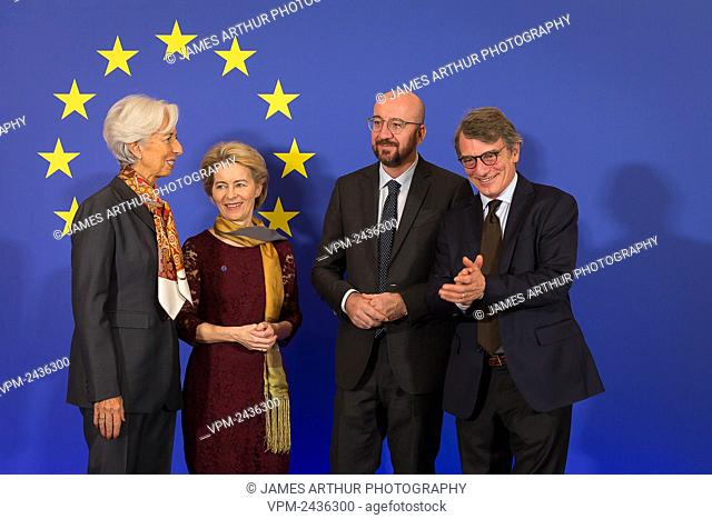 European Central Bank President Christine Lagarde, New European Commission President Ursula Von der Leyen, European Council President Charles Michel and David...